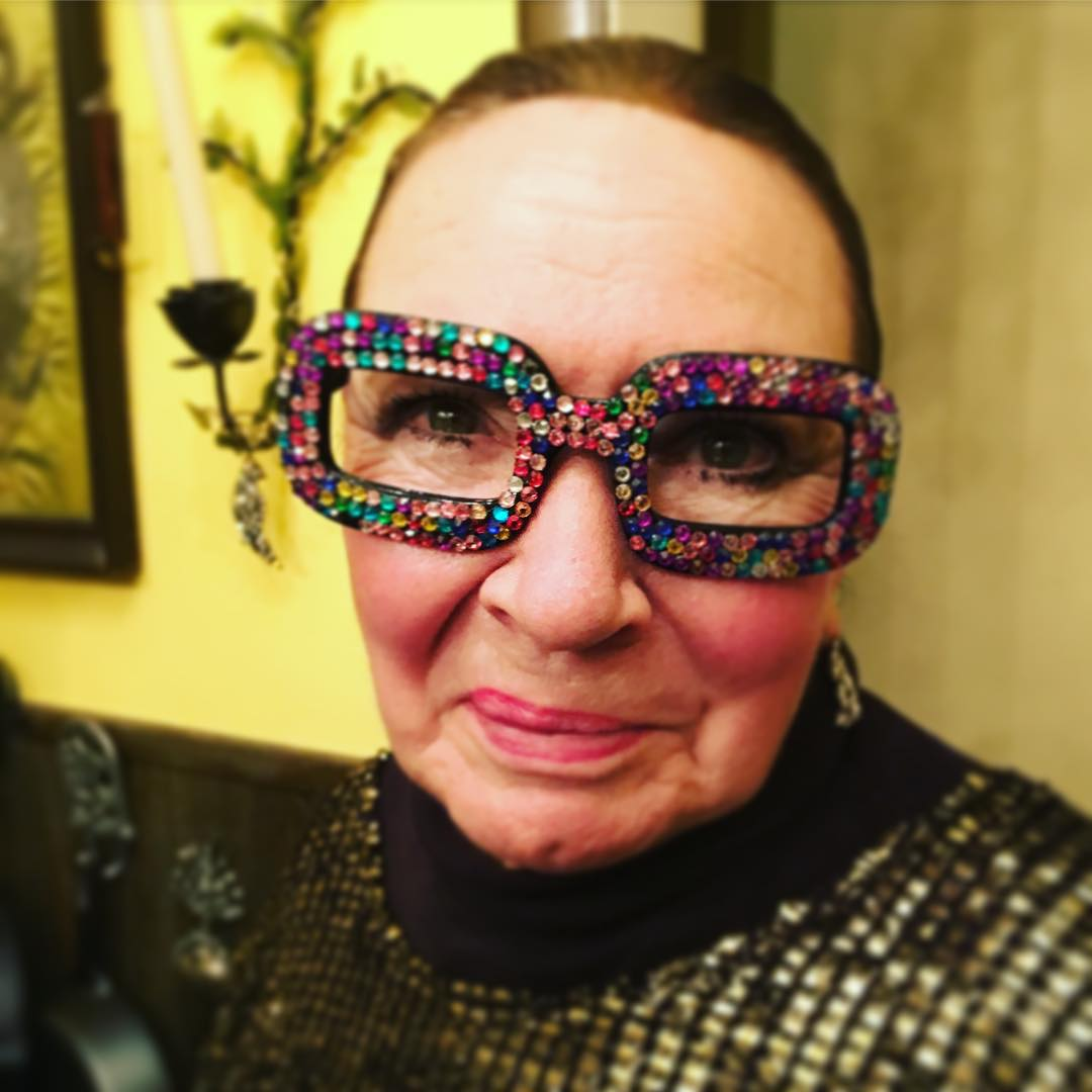 #motherinlaw Julie, as always #glam on #christmas w/ #glasses #bling by @aurrrorrra, but the glittery top smock is all her own
