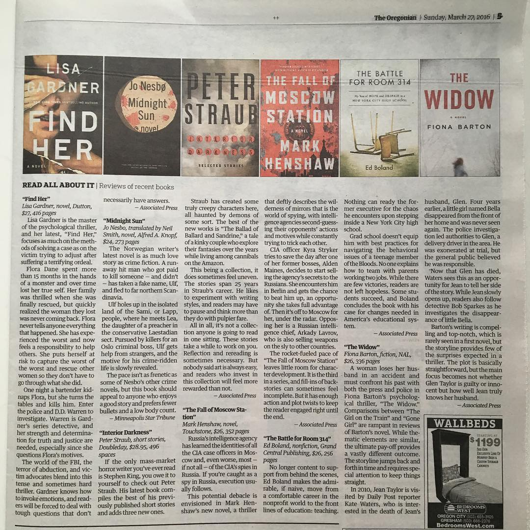 Thanks @theoregonian #oregonian for including this #associatedpress #bookreview of @eddiemgbol #thebattleforroom314 today. #morningsurprise #hometown paper #proudhusband #wallbeds