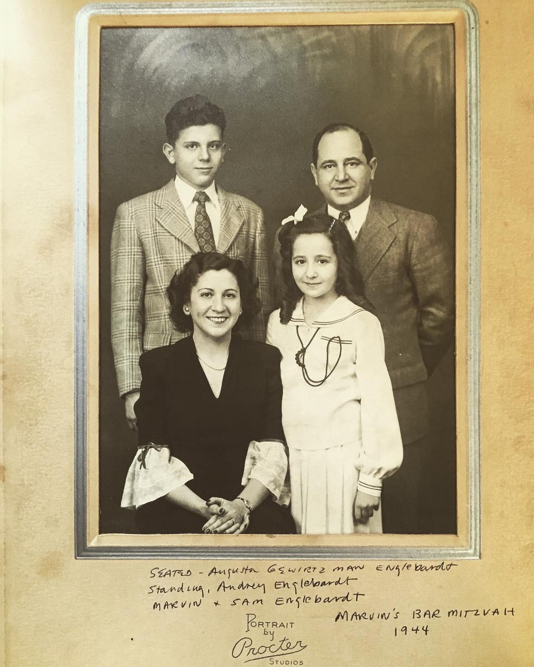 """Studies in #Jewish #hair, mid 1940s edition, subset #barmitzvah pics"" #eastcoastjews #tbt #family #namesake #grandpa Sam #grandma Gus, #nunni #marvinsbarmitzvah #portraitbyproctor"