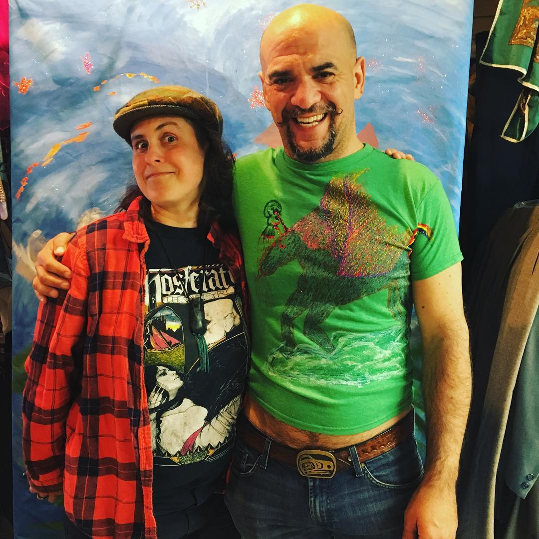 Me and the awesome #Hadley at her #Seaside #vintageshop #yeldahsboutique, where we just shot this AM for @seasidemovie. And I'm wearing a new shirt that she #painted! #oregoncoast #oregonfilm. She has so much great stuff. Go visit!
