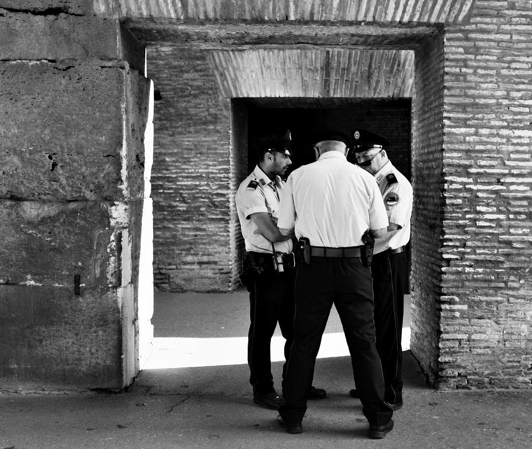 #Italian #cops #kibitzing at the #coliseum #coliseo #rome in July #hoscos #shootfilm #120film #blackandwhite #hasselblad #roma #italia #italy #streetphotography with #spaldingmfa